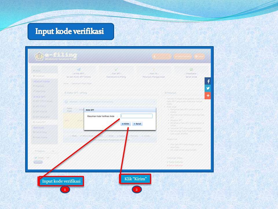 Input kode verifikasi Klik Kirim 12