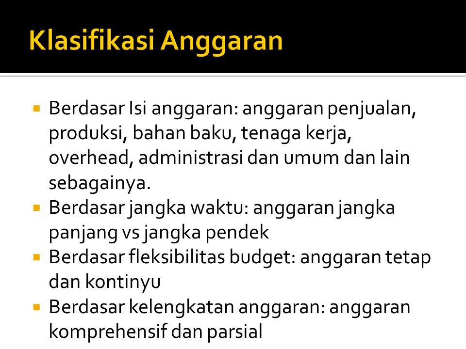  Berdasar Isi anggaran: anggaran penjualan, produksi, bahan baku, tenaga kerja, overhead, administrasi dan umum dan lain sebagainya.
