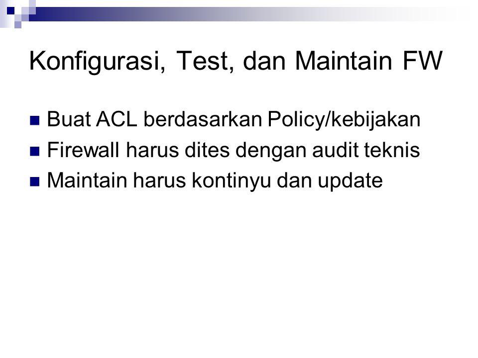 Konfigurasi, Test, dan Maintain FW Buat ACL berdasarkan Policy/kebijakan Firewall harus dites dengan audit teknis Maintain harus kontinyu dan update