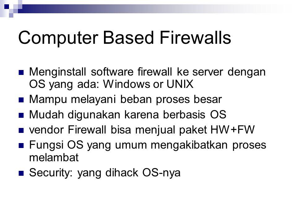 Firewall Appliances Box dengan operating system minimal Sulit untuk di hack Minimal setup Tidak special purpose Harus bisa diupdate