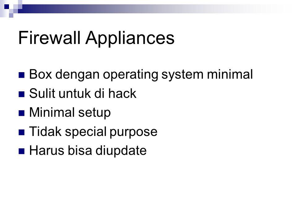 Host Firewalls Diinstall pada hosts itu sendiri (servers / clients) Keamanan lebih tinggi karena host-specific knowledge Sistem pertahanan mendalam Harus dimanage secara central / remote Client firewalls biasanya dimanage pengguna biasa, rawan sal-ting (salah setting).