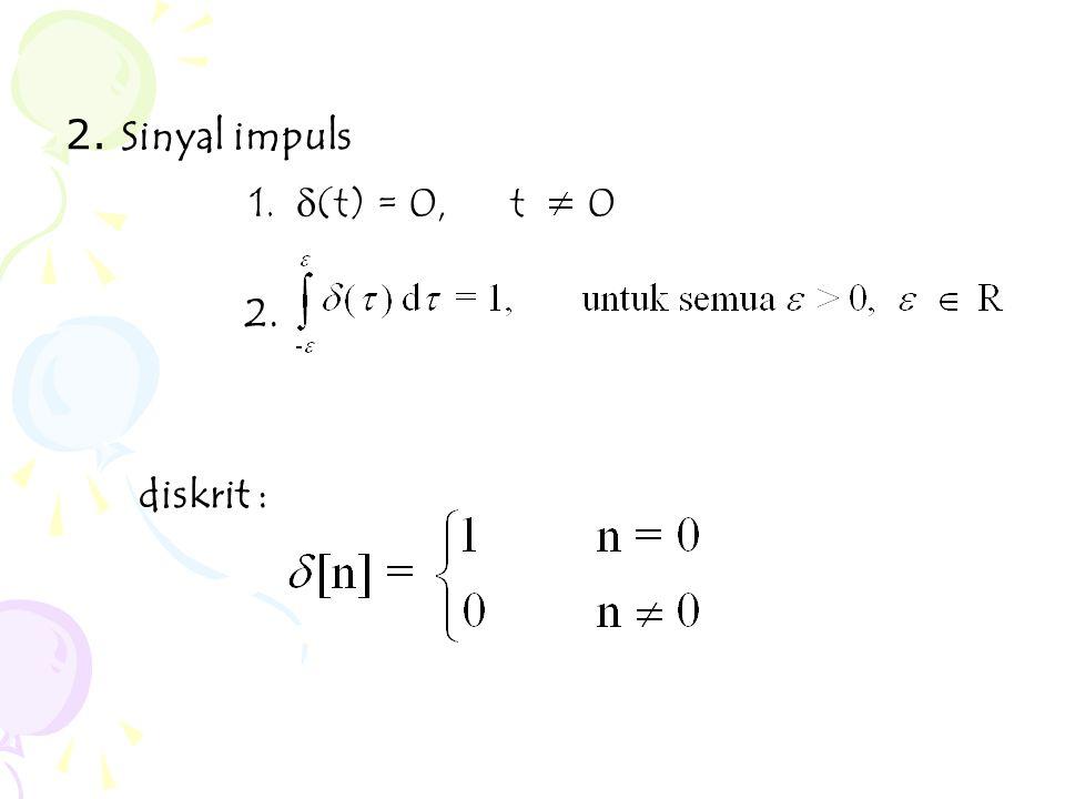 2. Sinyal impuls 2. diskrit : 1.  (t) = 0, t 0