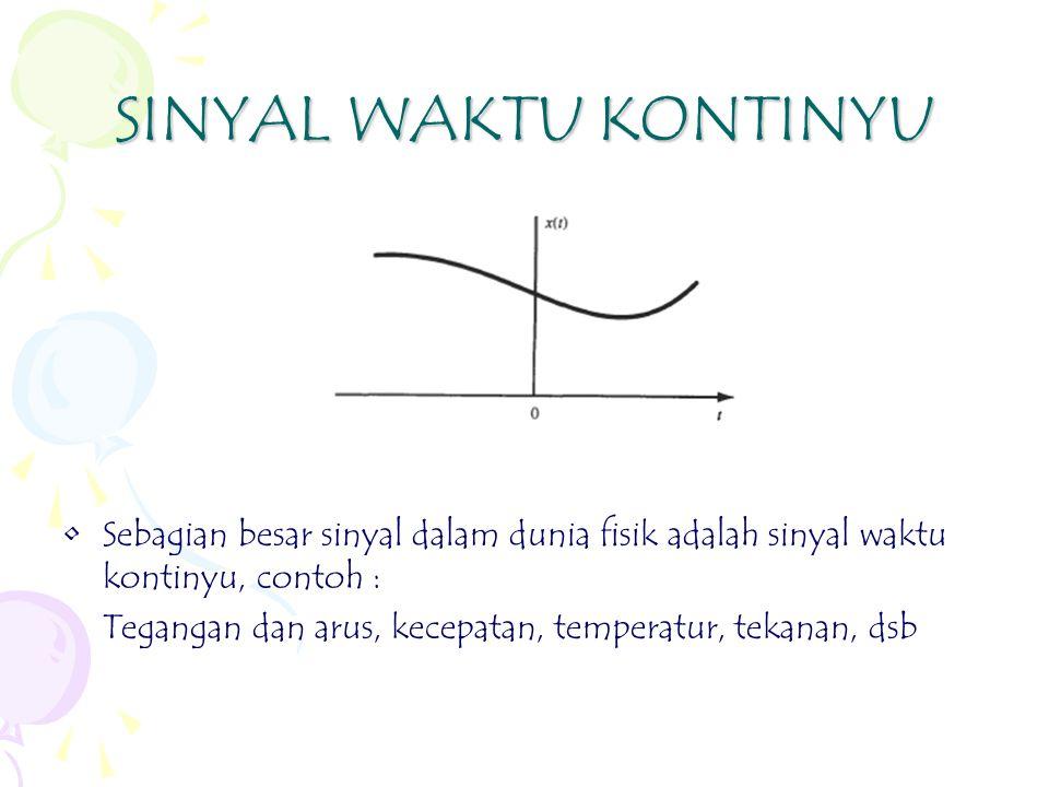SINYAL WAKTU KONTINYU Sebagian besar sinyal dalam dunia fisik adalah sinyal waktu kontinyu, contoh : Tegangan dan arus, kecepatan, temperatur, tekanan