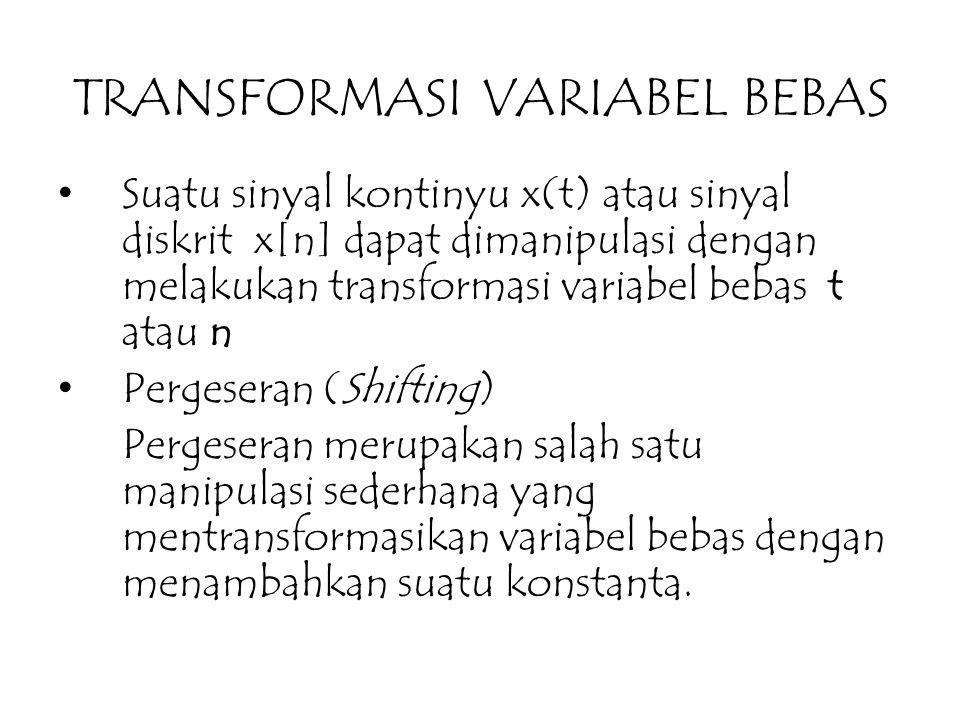 TRANSFORMASI VARIABEL BEBAS Suatu sinyal kontinyu x(t) atau sinyal diskrit x[n] dapat dimanipulasi dengan melakukan transformasi variabel bebas t atau