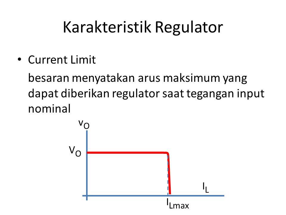 Karakteristik Regulator Current Limit besaran menyatakan arus maksimum yang dapat diberikan regulator saat tegangan input nominal vOvO ILIL I Lmax VOV