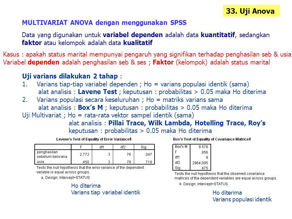 33. Uji Anova MULTIVARIAT ANOVA dengan menggunakan SPSS Data yang digunakan untuk variabel dependen adalah data kuantitatif, sedangkan faktor atau kel