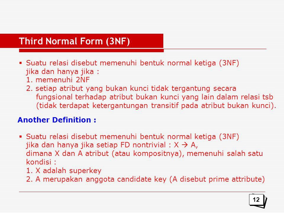  Suatu relasi disebut memenuhi bentuk normal ketiga (3NF) jika dan hanya jika : 1. memenuhi 2NF 2. setiap atribut yang bukan kunci tidak tergantung s