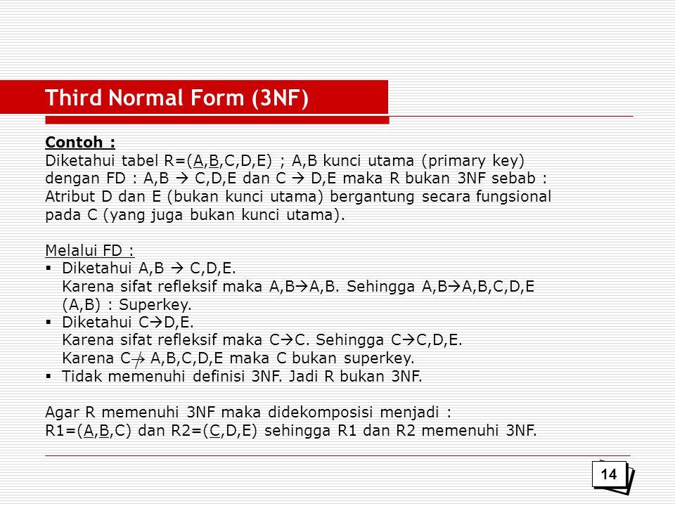 Contoh : Diketahui tabel R=(A,B,C,D,E) ; A,B kunci utama (primary key) dengan FD : A,B  C,D,E dan C  D,E maka R bukan 3NF sebab : Atribut D dan E (b