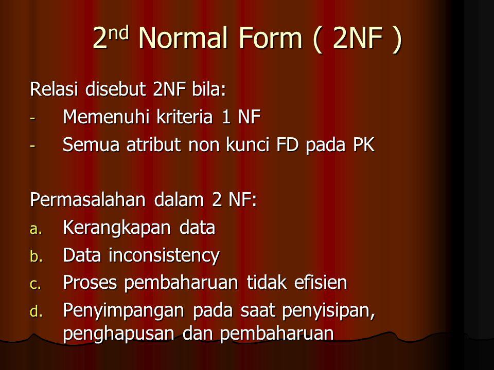 2 nd Normal Form ( 2NF ) Relasi disebut 2NF bila: - Memenuhi kriteria 1 NF - Semua atribut non kunci FD pada PK Permasalahan dalam 2 NF: a. Kerangkapa