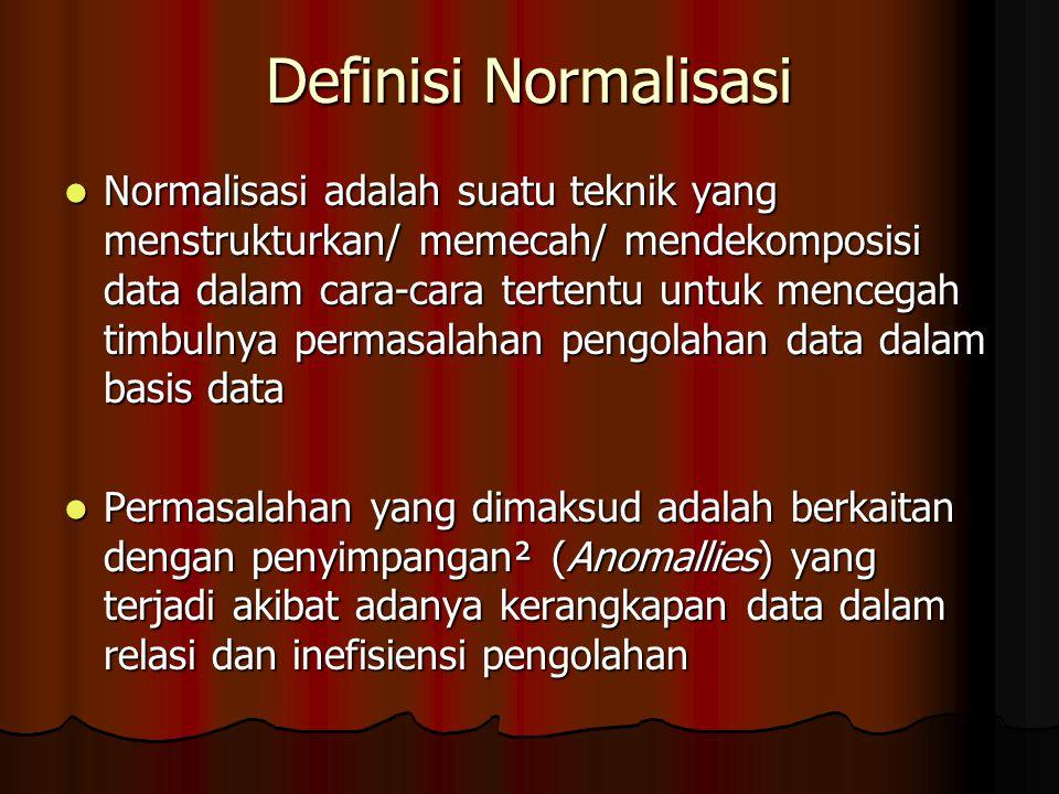 Definisi Normalisasi Normalisasi adalah suatu teknik yang menstrukturkan/ memecah/ mendekomposisi data dalam cara-cara tertentu untuk mencegah timbulnya permasalahan pengolahan data dalam basis data Normalisasi adalah suatu teknik yang menstrukturkan/ memecah/ mendekomposisi data dalam cara-cara tertentu untuk mencegah timbulnya permasalahan pengolahan data dalam basis data Permasalahan yang dimaksud adalah berkaitan dengan penyimpangan² (Anomallies) yang terjadi akibat adanya kerangkapan data dalam relasi dan inefisiensi pengolahan Permasalahan yang dimaksud adalah berkaitan dengan penyimpangan² (Anomallies) yang terjadi akibat adanya kerangkapan data dalam relasi dan inefisiensi pengolahan