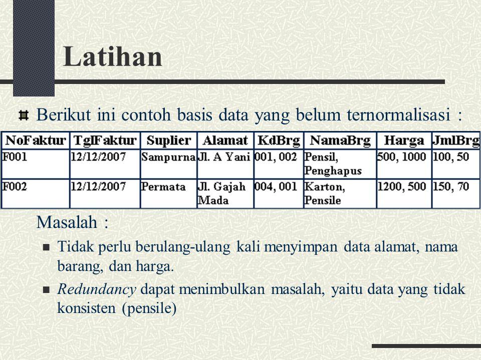 Latihan Berikut ini contoh basis data yang belum ternormalisasi : Masalah : Tidak perlu berulang-ulang kali menyimpan data alamat, nama barang, dan harga.