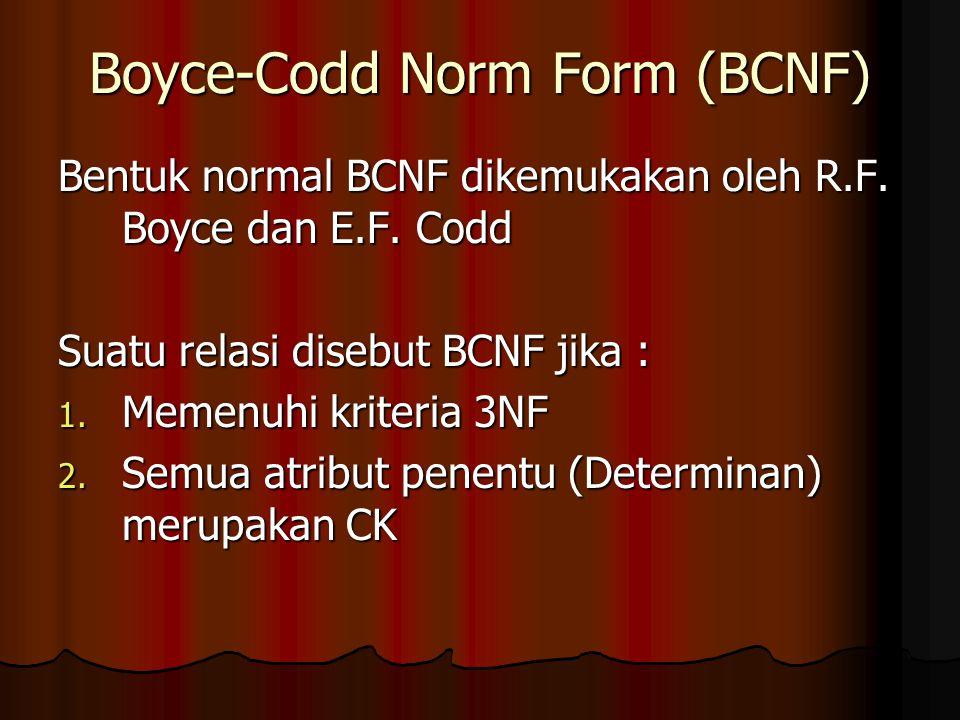 Boyce-Codd Norm Form (BCNF) Bentuk normal BCNF dikemukakan oleh R.F.