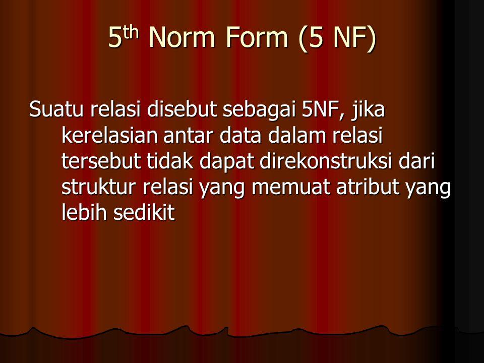 5 th Norm Form (5 NF) Suatu relasi disebut sebagai 5NF, jika kerelasian antar data dalam relasi tersebut tidak dapat direkonstruksi dari struktur relasi yang memuat atribut yang lebih sedikit