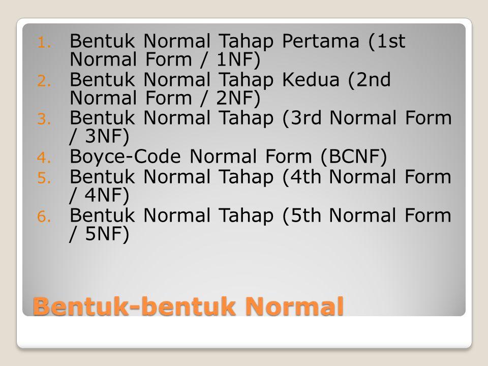 Bentuk Normal Tahap Pertama (1st Normal Form / 1NF) Bentuk normal 1NF terpenuhi jika sebuah tabel tidak memiliki atribut bernilai banyak (multivalued attribute), atribut composite.