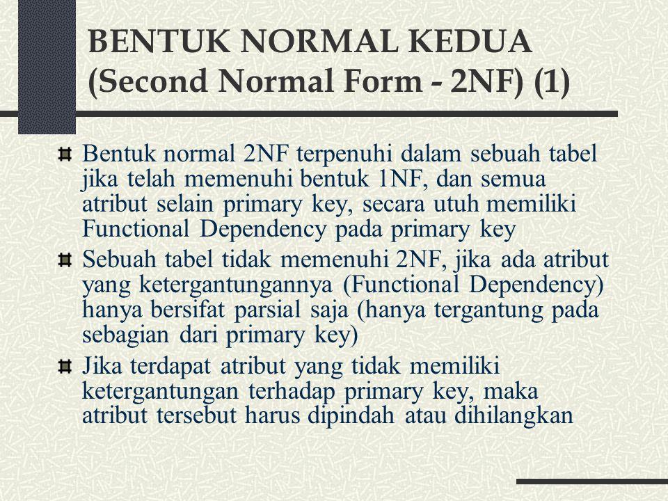 BENTUK NORMAL KEDUA (Second Normal Form - 2NF) (1) Bentuk normal 2NF terpenuhi dalam sebuah tabel jika telah memenuhi bentuk 1NF, dan semua atribut selain primary key, secara utuh memiliki Functional Dependency pada primary key Sebuah tabel tidak memenuhi 2NF, jika ada atribut yang ketergantungannya (Functional Dependency) hanya bersifat parsial saja (hanya tergantung pada sebagian dari primary key) Jika terdapat atribut yang tidak memiliki ketergantungan terhadap primary key, maka atribut tersebut harus dipindah atau dihilangkan