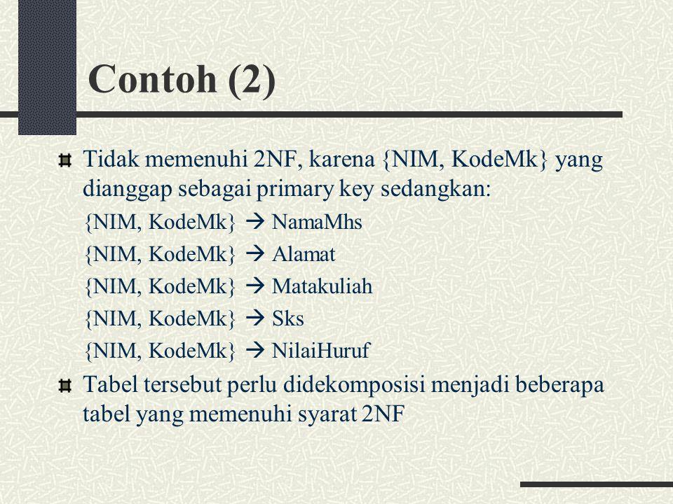 Contoh (2) Tidak memenuhi 2NF, karena {NIM, KodeMk} yang dianggap sebagai primary key sedangkan: {NIM, KodeMk}  NamaMhs {NIM, KodeMk}  Alamat {NIM, KodeMk}  Matakuliah {NIM, KodeMk}  Sks {NIM, KodeMk}  NilaiHuruf Tabel tersebut perlu didekomposisi menjadi beberapa tabel yang memenuhi syarat 2NF