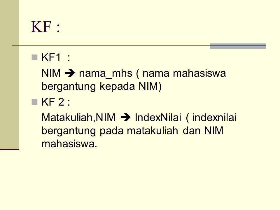 KF : KF1 : NIM  nama_mhs ( nama mahasiswa bergantung kepada NIM) KF 2 : Matakuliah,NIM  IndexNilai ( indexnilai bergantung pada matakuliah dan NIM mahasiswa.