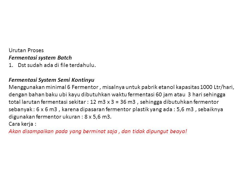 Urutan Proses Fermentasi system Batch 1.Dst sudah ada di file terdahulu.