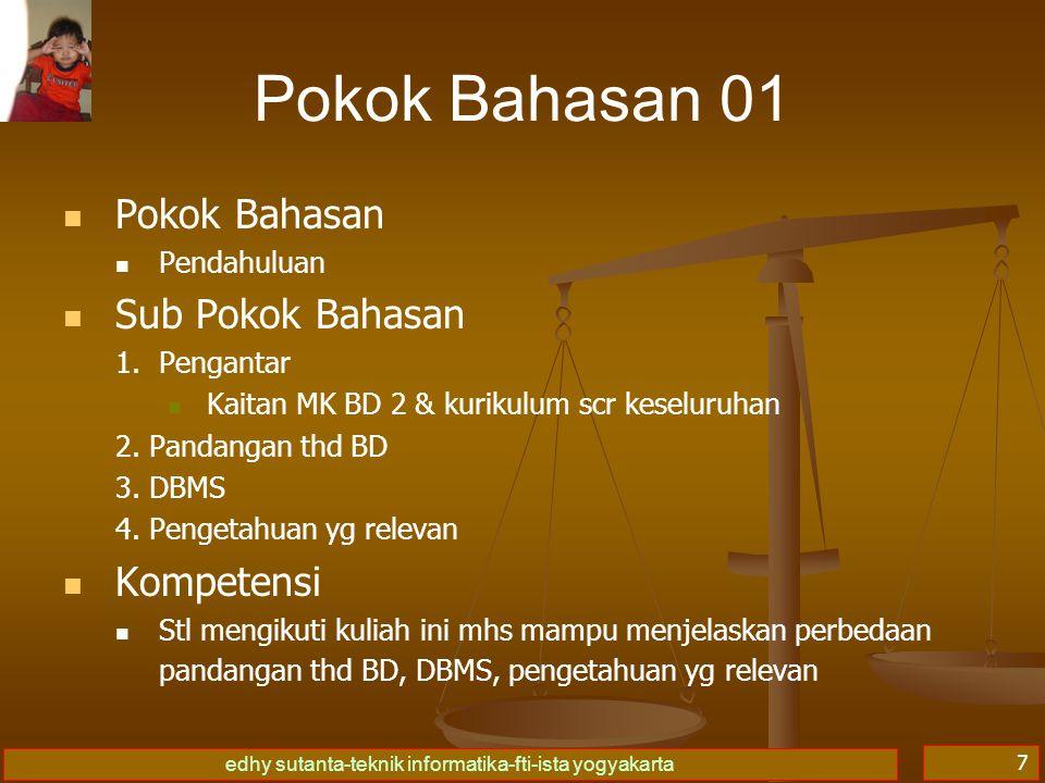 edhy sutanta-teknik informatika-fti-ista yogyakarta 7 Pokok Bahasan 01 Pokok Bahasan Pendahuluan Sub Pokok Bahasan 1.
