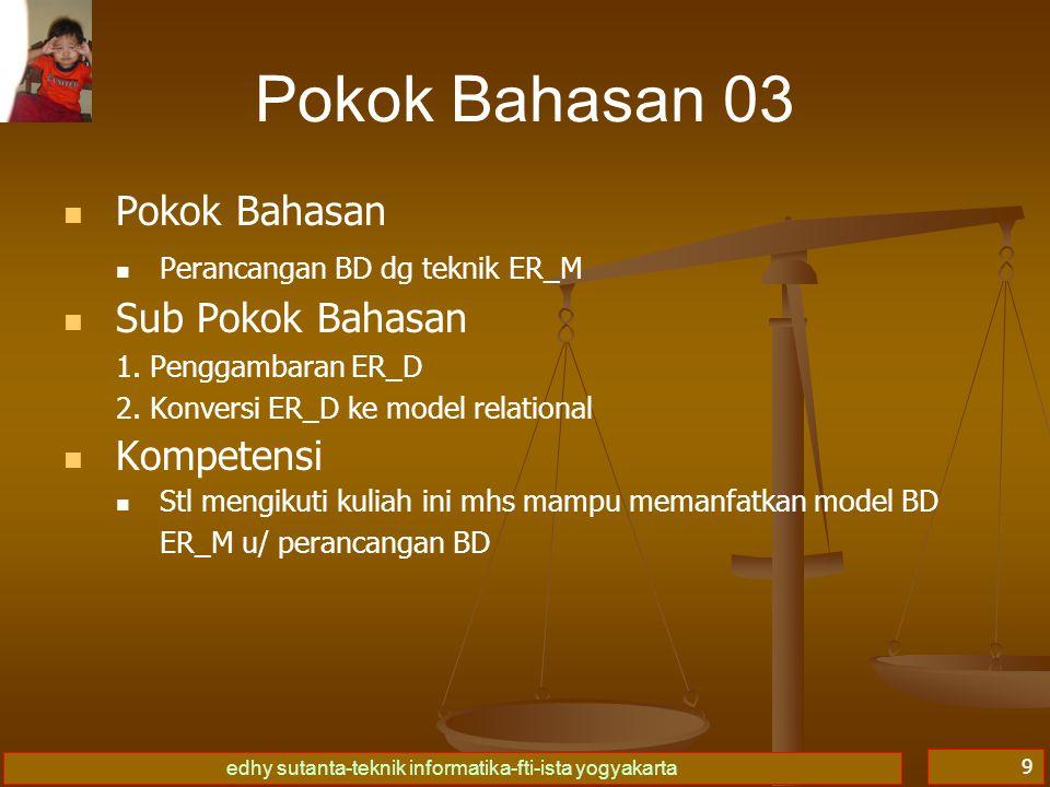 edhy sutanta-teknik informatika-fti-ista yogyakarta 9 Pokok Bahasan 03 Pokok Bahasan Perancangan BD dg teknik ER_M Sub Pokok Bahasan 1.