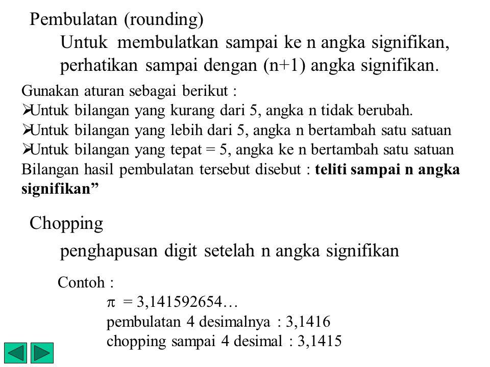 Pembulatan (rounding) Untuk membulatkan sampai ke n angka signifikan, perhatikan sampai dengan (n+1) angka signifikan. Chopping penghapusan digit sete