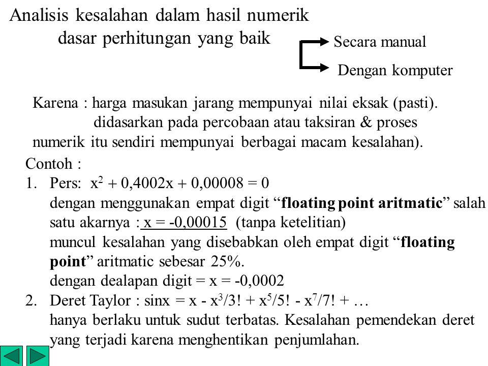 Analisis kesalahan dalam hasil numerik dasar perhitungan yang baik Karena : harga masukan jarang mempunyai nilai eksak (pasti). didasarkan pada percob