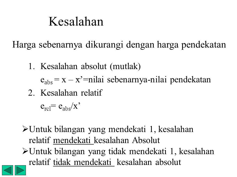 Kesalahan 1.Kesalahan absolut (mutlak) e abs = x – x'=nilai sebenarnya-nilai pendekatan 2.Kesalahan relatif e rcl = e abs /x' Harga sebenarnya dikuran