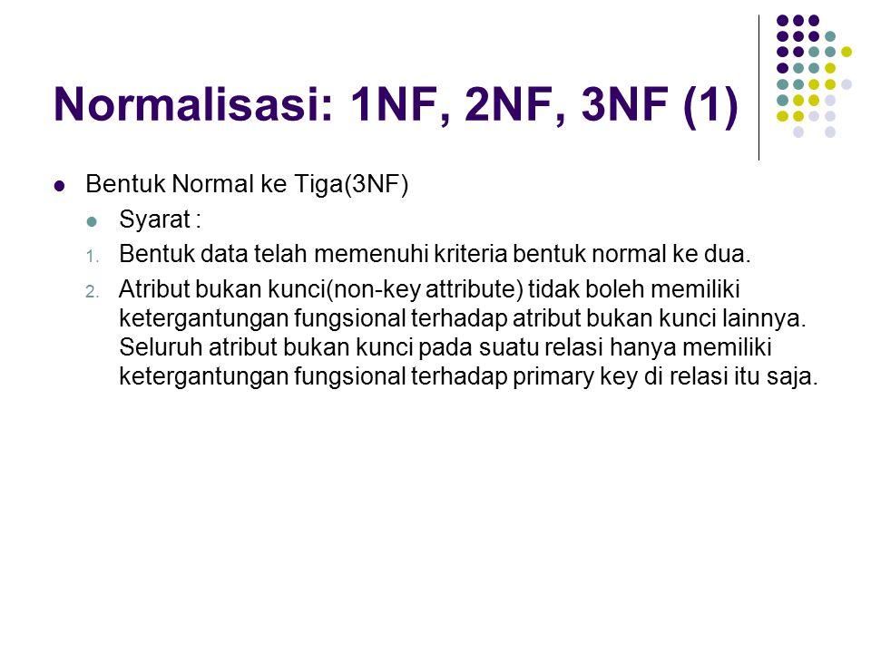 Normalisasi: 1NF, 2NF, 3NF (1) Bentuk Normal ke Tiga(3NF) Syarat : 1.