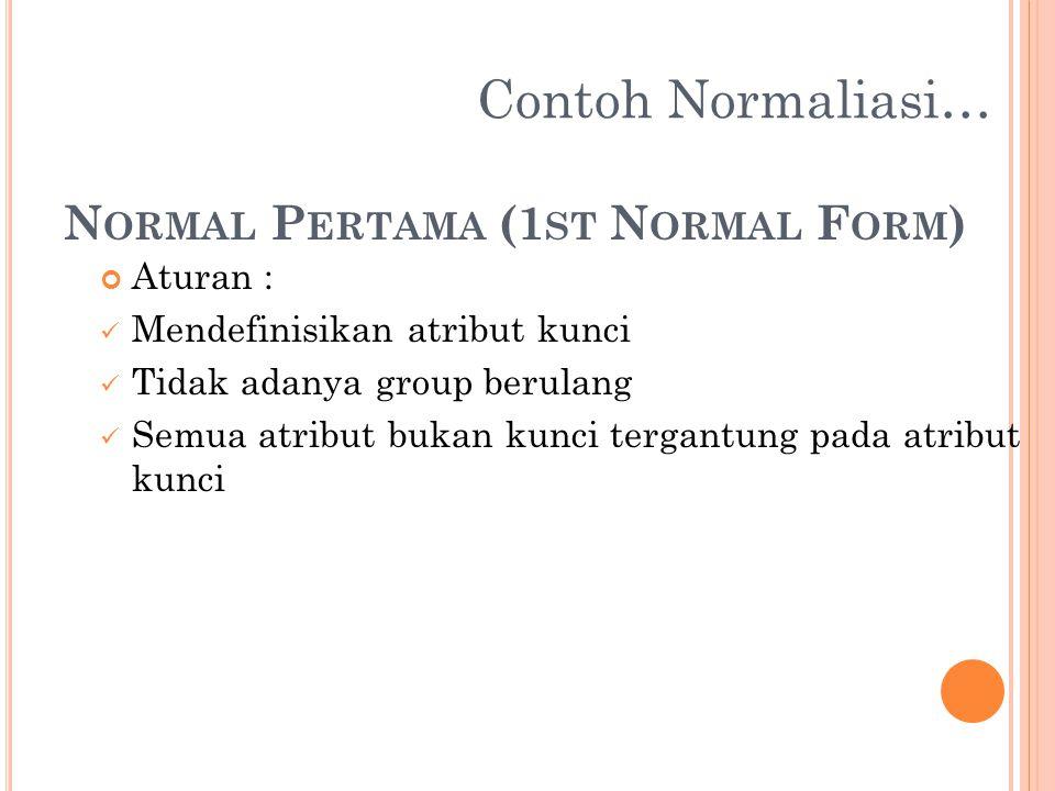 N ORMAL P ERTAMA (1 ST N ORMAL F ORM ) Aturan : Mendefinisikan atribut kunci Tidak adanya group berulang Semua atribut bukan kunci tergantung pada atr