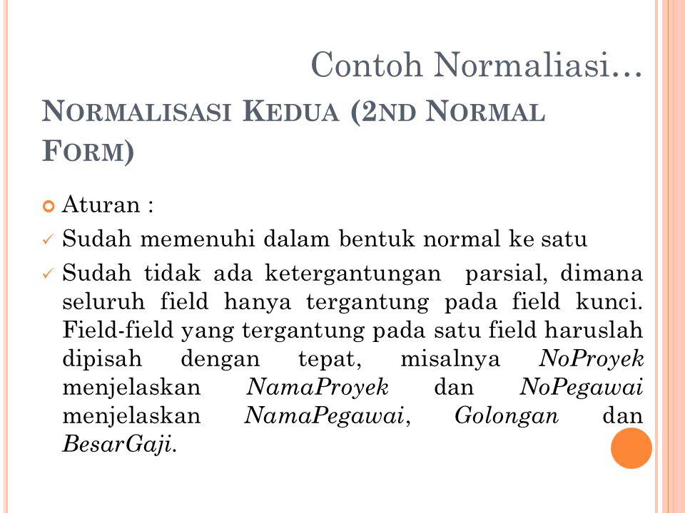 N ORMALISASI K EDUA (2 ND N ORMAL F ORM ) Aturan : Sudah memenuhi dalam bentuk normal ke satu Sudah tidak ada ketergantungan parsial, dimana seluruh f