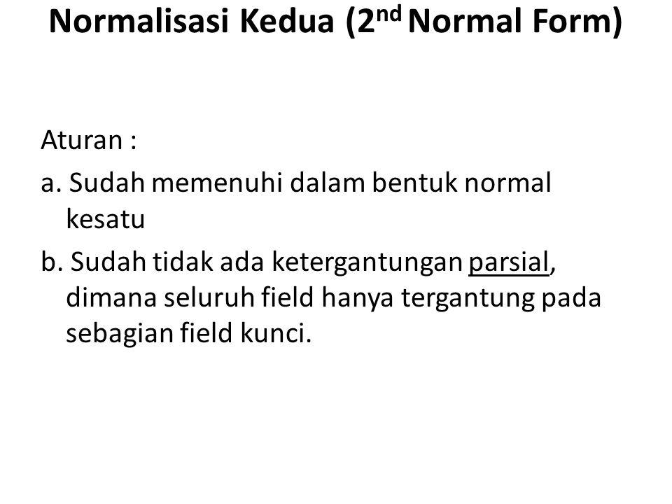 Normalisasi Kedua (2 nd Normal Form) Aturan : a. Sudah memenuhi dalam bentuk normal kesatu b. Sudah tidak ada ketergantungan parsial, dimana seluruh f