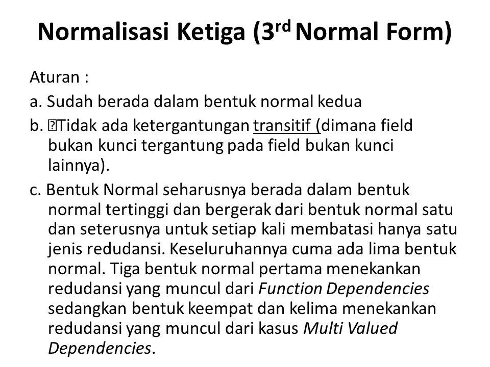 Normalisasi Ketiga (3 rd Normal Form) Aturan : a. Sudah berada dalam bentuk normal kedua b.  Tidak ada ketergantungan transitif (dimana field bukan k