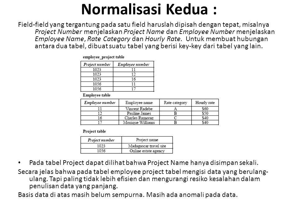 Normalisasi Kedua : Field-field yang tergantung pada satu field haruslah dipisah dengan tepat, misalnya Project Number menjelaskan Project Name dan Em