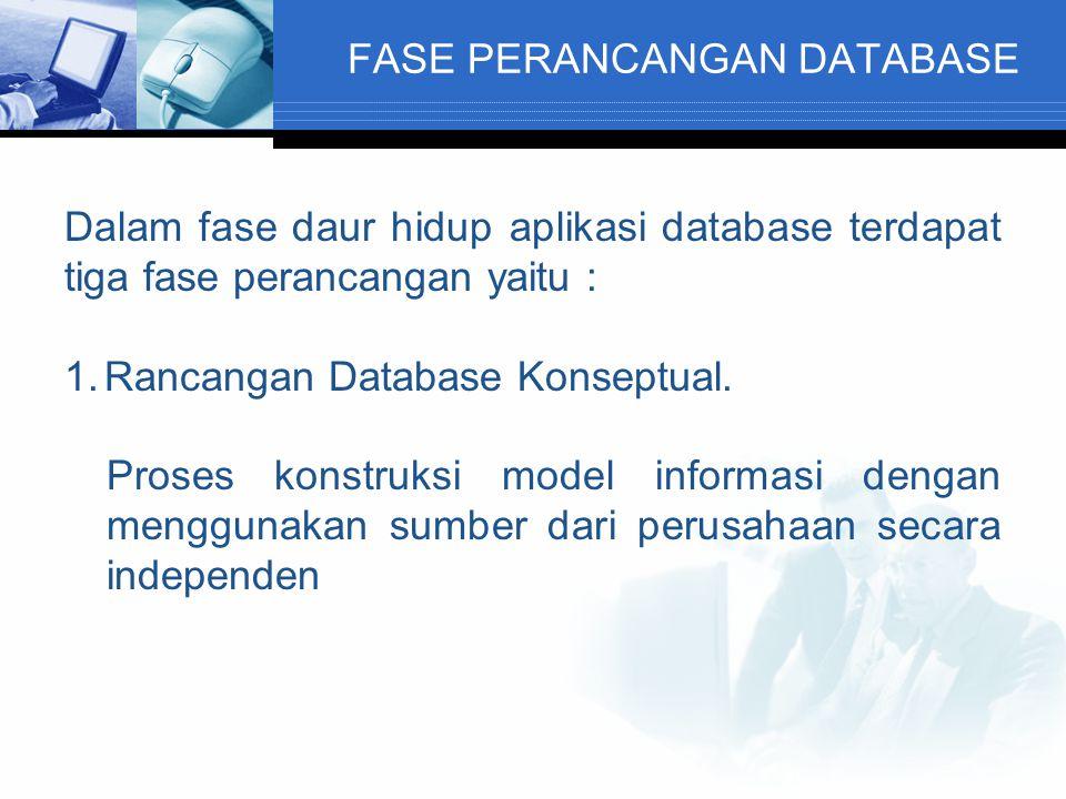 FASE PERANCANGAN DATABASE Dalam fase daur hidup aplikasi database terdapat tiga fase perancangan yaitu : 1.Rancangan Database Konseptual. Proses konst