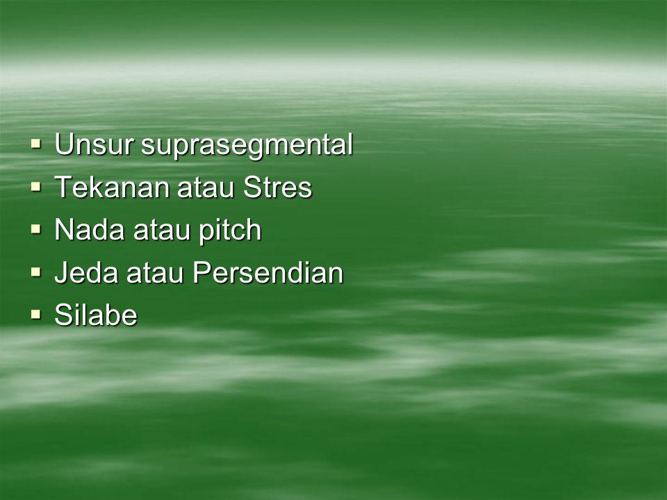  Unsur suprasegmental  Tekanan atau Stres  Nada atau pitch  Jeda atau Persendian  Silabe