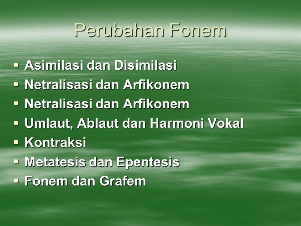Perubahan Fonem  Asimilasi dan Disimilasi  Netralisasi dan Arfikonem  Umlaut, Ablaut dan Harmoni Vokal  Kontraksi  Metatesis dan Epentesis  Fone