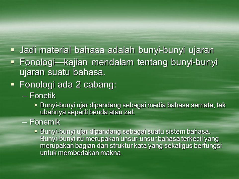 WACANA FONOLOGI  Fonologi adalah ilmu yang mempelajari bunyi bahasa.