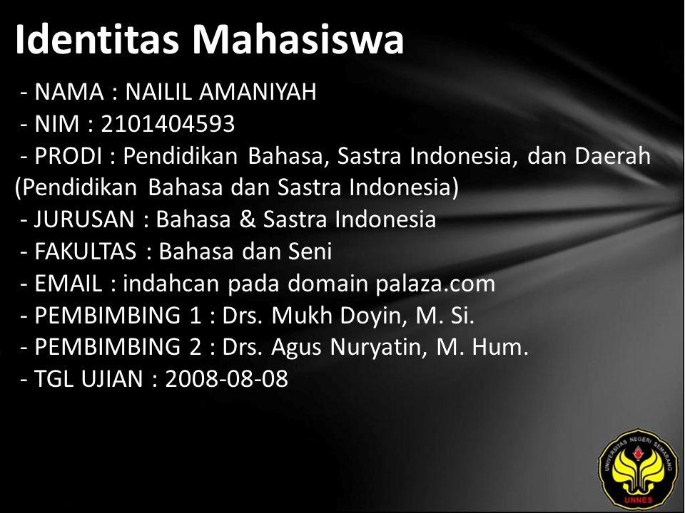 Identitas Mahasiswa - NAMA : NAILIL AMANIYAH - NIM : 2101404593 - PRODI : Pendidikan Bahasa, Sastra Indonesia, dan Daerah (Pendidikan Bahasa dan Sastr
