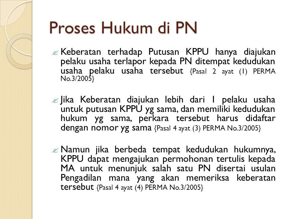 Proses Hukum di PN  Keberatan terhadap Putusan KPPU hanya diajukan pelaku usaha terlapor kepada PN ditempat kedudukan usaha pelaku usaha tersebut {Pa