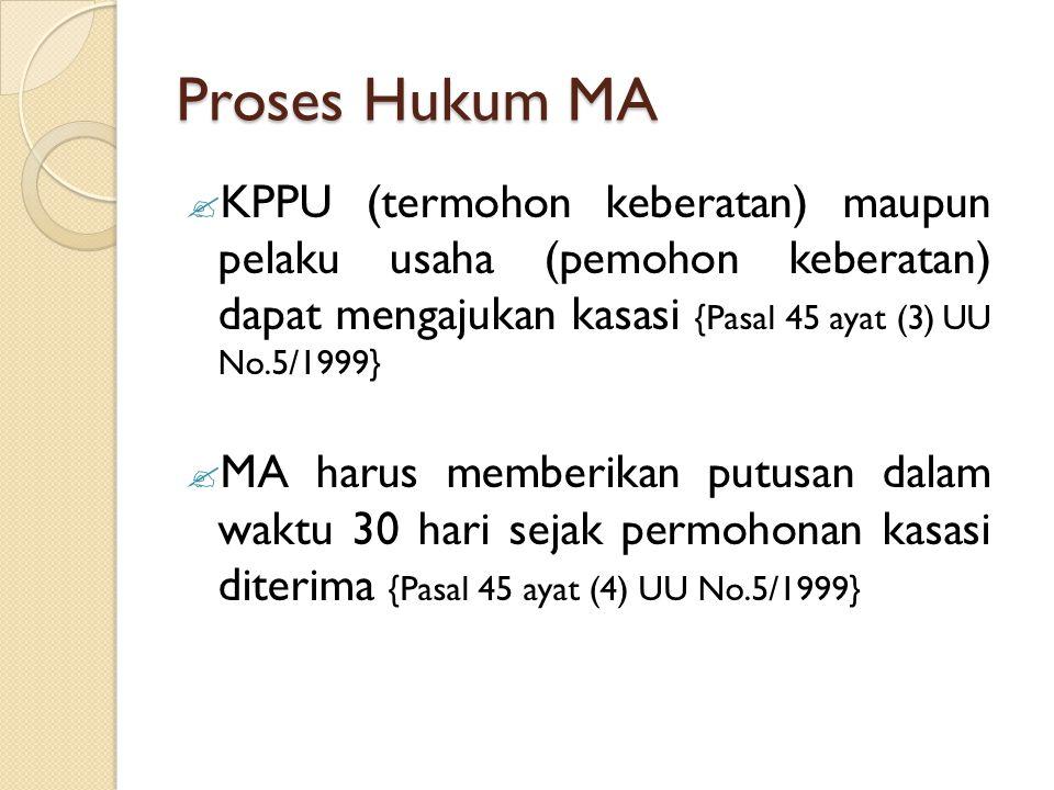Proses Hukum MA  KPPU (termohon keberatan) maupun pelaku usaha (pemohon keberatan) dapat mengajukan kasasi {Pasal 45 ayat (3) UU No.5/1999}  MA haru