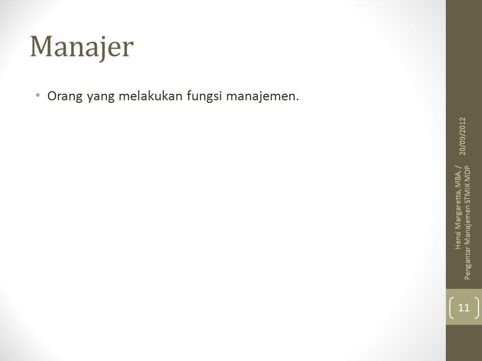 Manajer Orang yang melakukan fungsi manajemen.20/09/2012 Hensi Margaretta, MBA.
