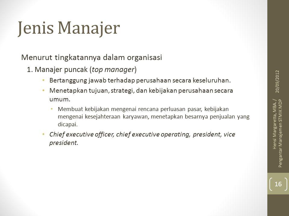 Jenis Manajer Menurut tingkatannya dalam organisasi 1.
