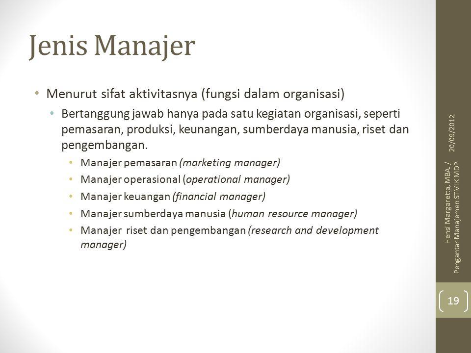 Jenis Manajer Menurut sifat aktivitasnya (fungsi dalam organisasi) Bertanggung jawab hanya pada satu kegiatan organisasi, seperti pemasaran, produksi, keunangan, sumberdaya manusia, riset dan pengembangan.