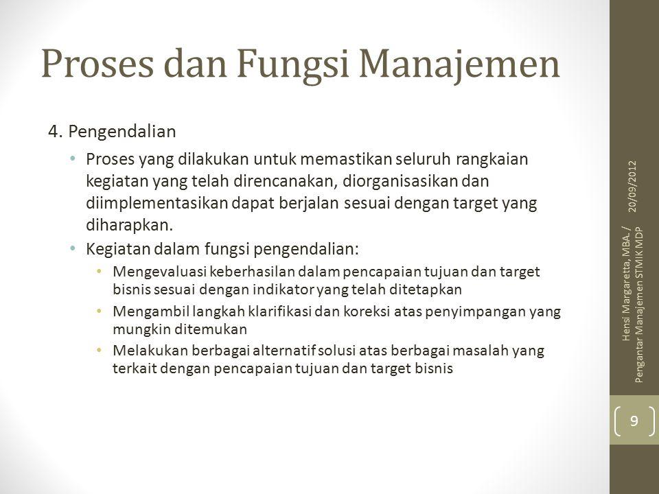 Bidang Manajemen Bidang pemasaran Bidang operasional Bidang keuangan Bidang sumber daya manusia 20/09/2012 Hensi Margaretta, MBA.