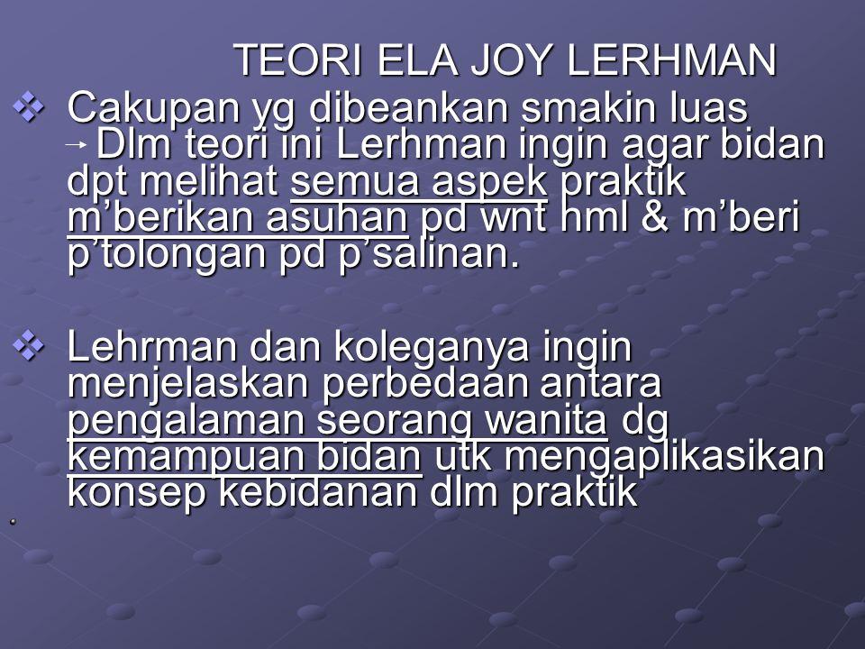 TEORI ELA JOY LERHMAN TEORI ELA JOY LERHMAN  Cakupan yg dibeankan smakin luas Dlm teori ini Lerhman ingin agar bidan dpt melihat semua aspek praktik