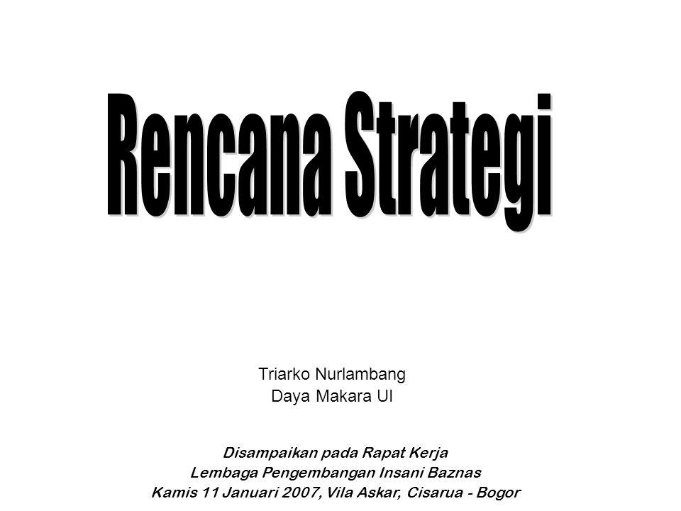 Triarko Nurlambang Daya Makara UI Disampaikan pada Rapat Kerja Lembaga Pengembangan Insani Baznas Kamis 11 Januari 2007, Vila Askar, Cisarua - Bogor