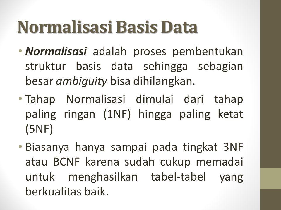 Normalisasi Basis Data Normalisasi adalah proses pembentukan struktur basis data sehingga sebagian besar ambiguity bisa dihilangkan. Tahap Normalisasi