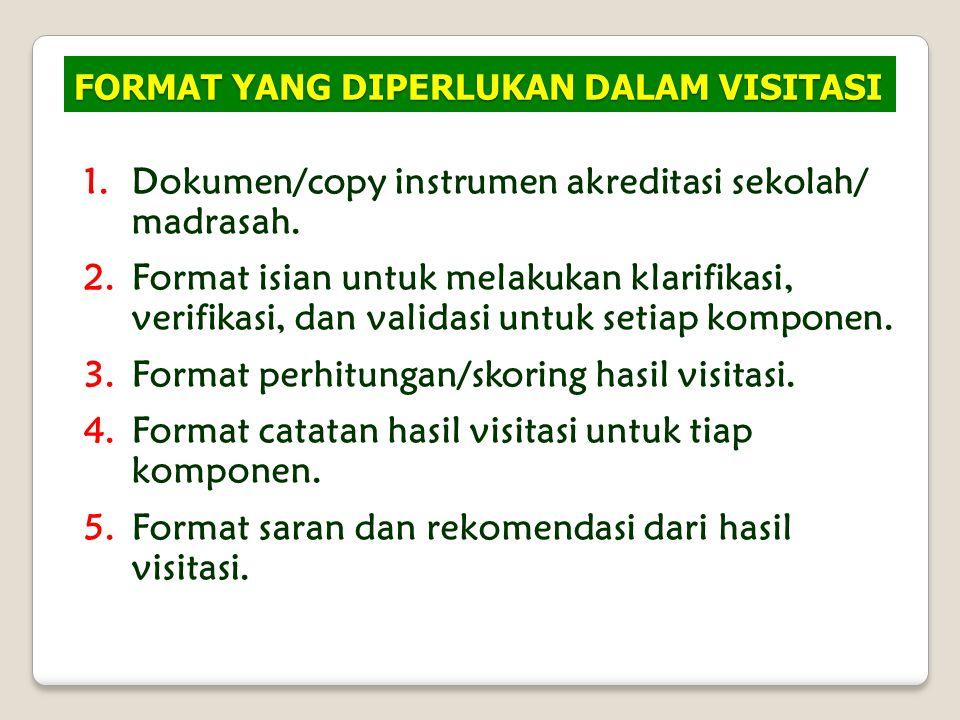FORMAT YANG DIPERLUKAN DALAM VISITASI 1.Dokumen/copy instrumen akreditasi sekolah/ madrasah. 2.Format isian untuk melakukan klarifikasi, verifikasi, d