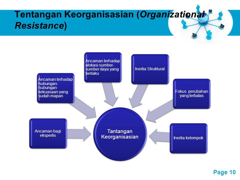 Free Powerpoint Templates Page 10 Tentangan Keorganisasian (Organizational Resistance) Tantangan Keorganisasian Inertia kelompok Ancaman bagi eksperti