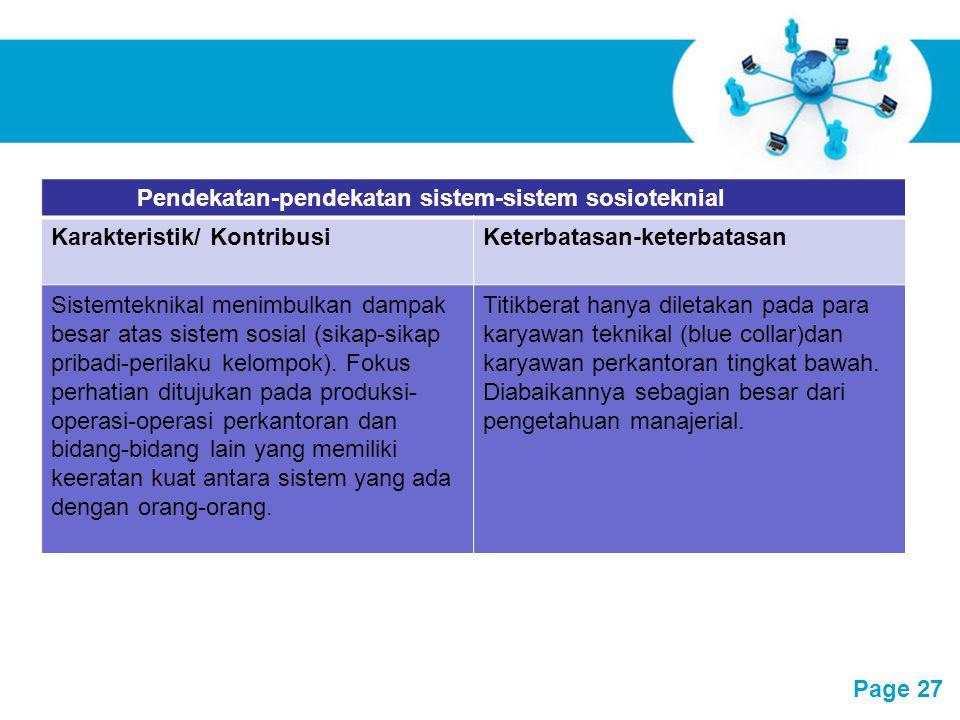 Free Powerpoint Templates Page 27 Pendekatan-pendekatan sistem-sistem sosioteknial Karakteristik/ KontribusiKeterbatasan-keterbatasan Sistemteknikal m